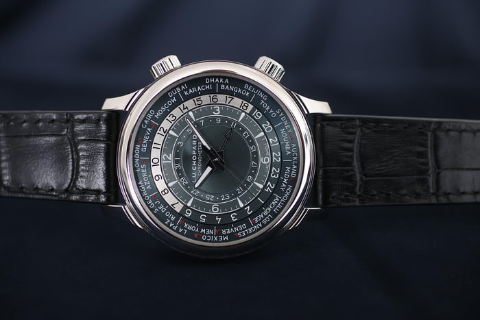 "The platinum version features a dial with a different colour scheme, mixing silver with what Chopard is calling ""blue-tinged grey."" The result is more refined, but slightly less legible."
