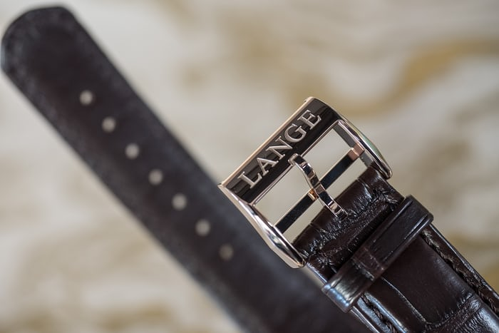 Lange & Söhne Lange 1 Time Zone Honey Gold buckle