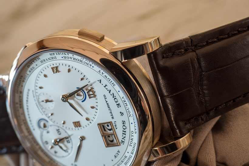 Lange & Söhne Lange 1 Time Zone Honey Gold pusher