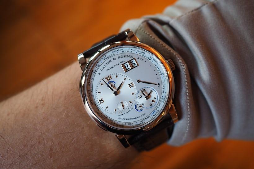 A. Lange & Söhne honey gold time zone wrist shot