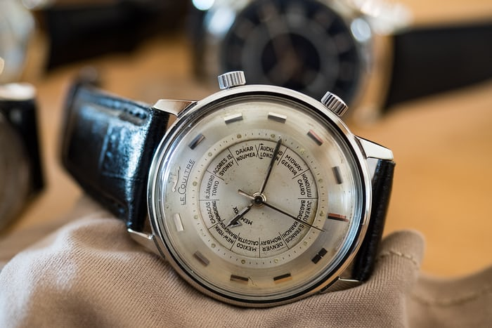Jaeger Lecoultre vintage Memovox World Time, hand-wound caliber 910, 1960