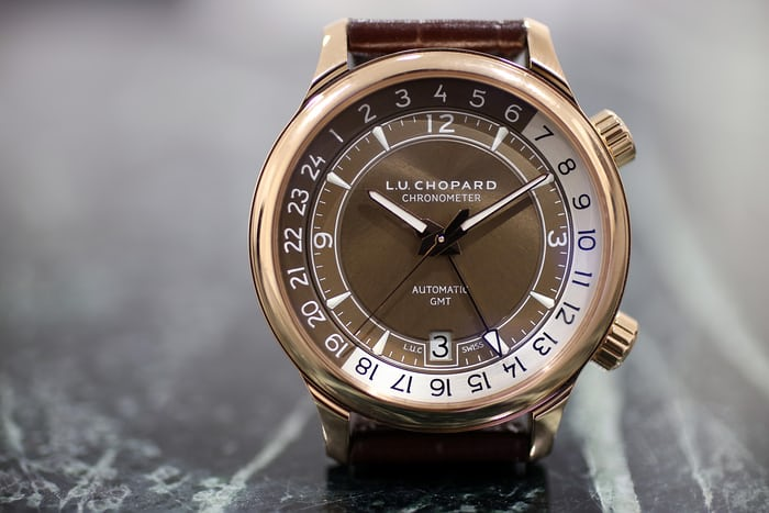 brown dial rose gold chopard luc gmt one