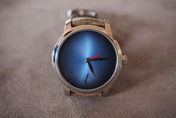 Moser Dual Time Concept blue fume dial