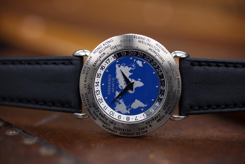 "1990: The 1st Edition World Time ""Communication"" was made in 1990, using an F. Piguet Caliber 9.51 base on top of which Andersen added an in-house worldtimer module."