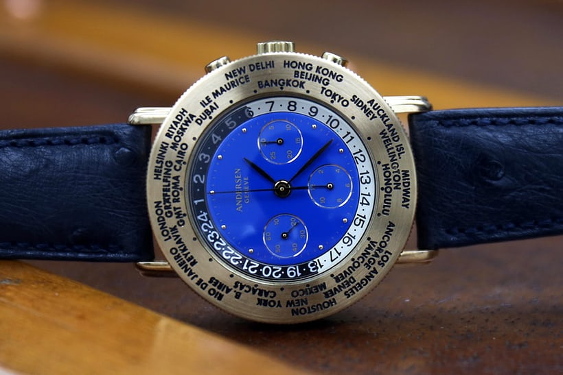 This Chrono 21, also from 1992, features a custom worldtimer/chronograph combination for a private client.