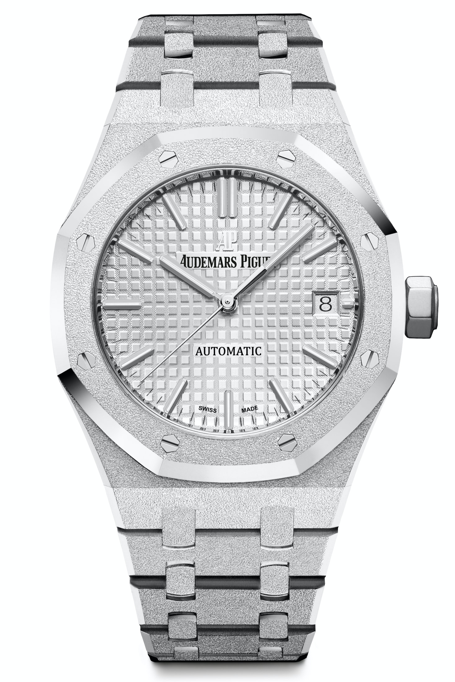 The white gold version of the watch is totally monochromatic and really shows off the textures. Introducing: The New 40th Anniversary Frosted Gold Ladies' Royal Oak From Audemars Piguet Introducing: The New 40th Anniversary Frosted Gold Ladies' Royal Oak From Audemars Piguet ap6
