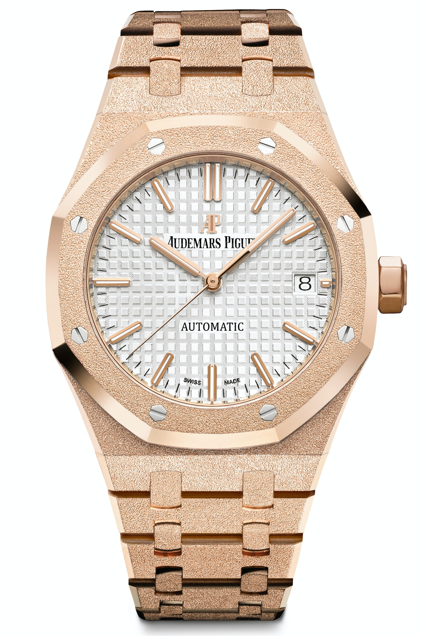 In rose gold, there's a bit more contrast between the case and the dial. Introducing: The New 40th Anniversary Frosted Gold Ladies' Royal Oak From Audemars Piguet Introducing: The New 40th Anniversary Frosted Gold Ladies' Royal Oak From Audemars Piguet ap5