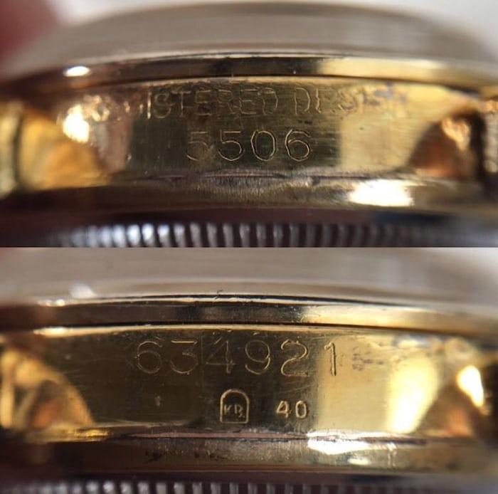 Rolex Explorer 5506 engravings