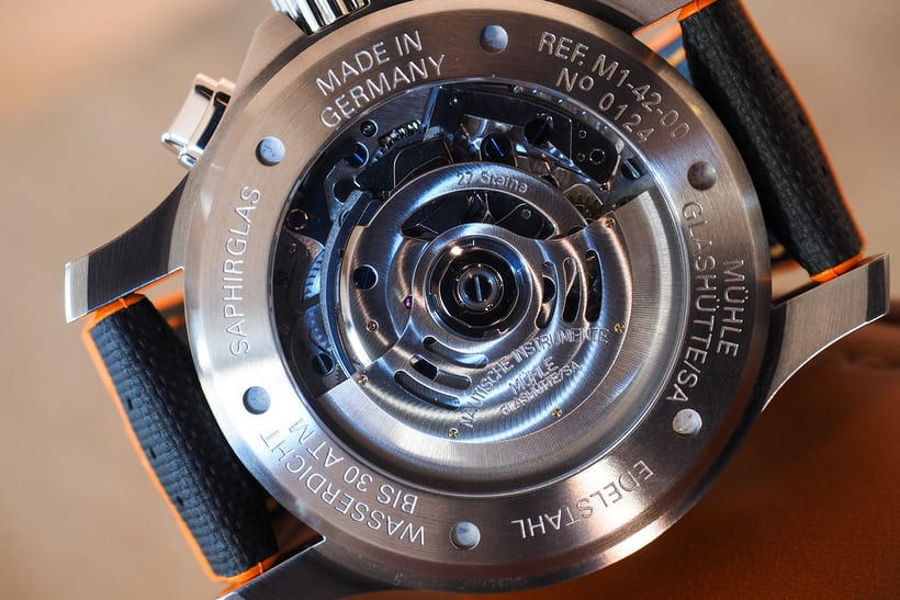 Mühle-Glashütte ProMare movement MU 9408 closeup