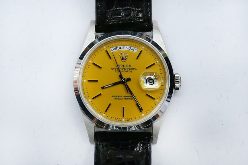rolex day-date yellow stella platinum