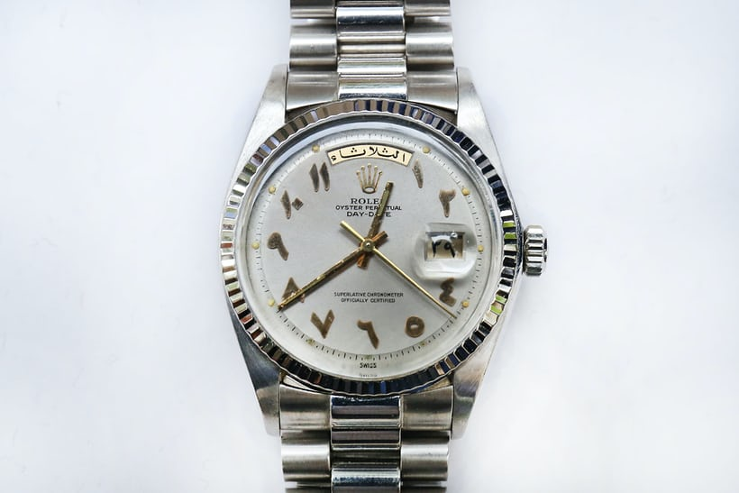 rolex day-date arabic numerals white gold