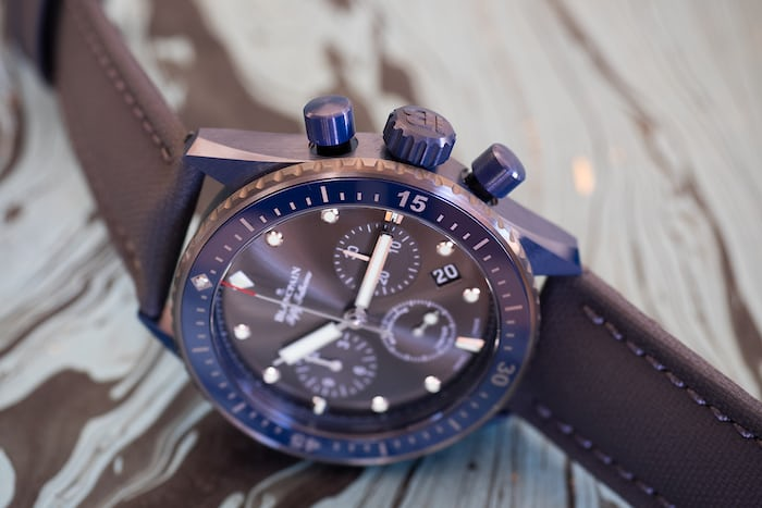 Fifty Fathoms Bathyscaphe Flyback Chronograph Blancpain Ocean Commitment II case flank