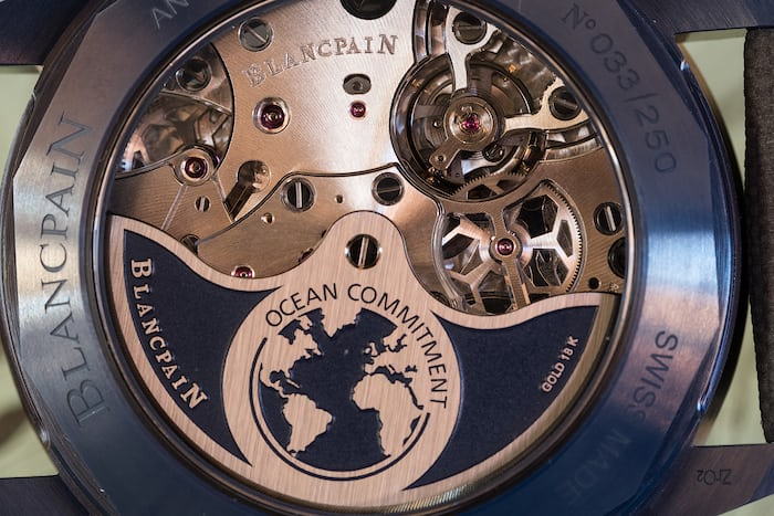 Fifty Fathoms Bathyscaphe Flyback Chronograph Blancpain Ocean Commitment II movement closeup