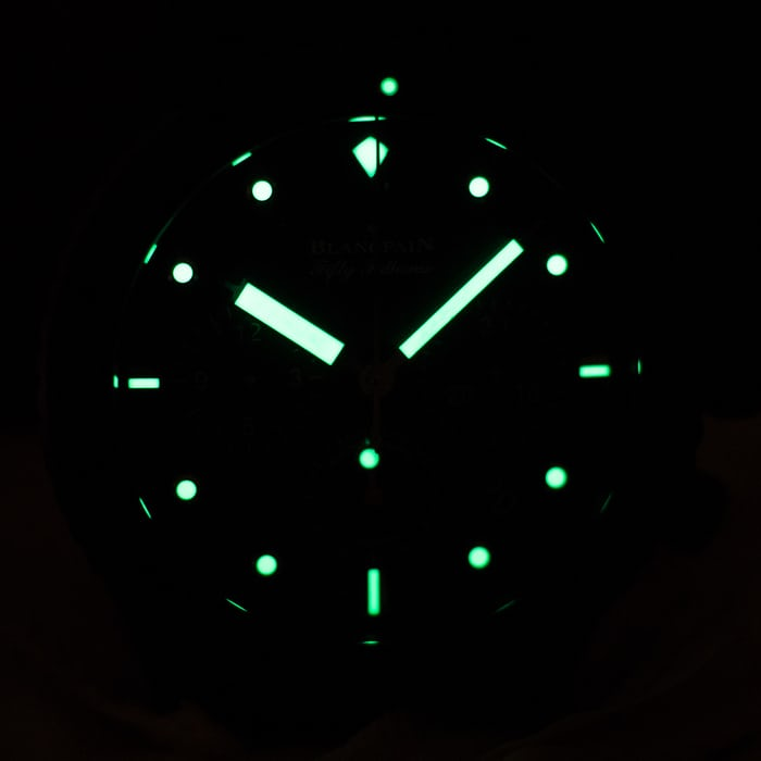 Fifty Fathoms Bathyscaphe Flyback Chronograph Blancpain Ocean Commitment II lume shot