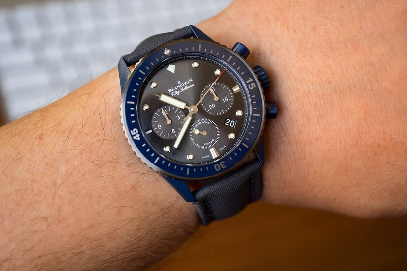Fifty Fathoms Bathyscaphe Flyback Chronograph Blancpain Ocean Commitment II wrist shot