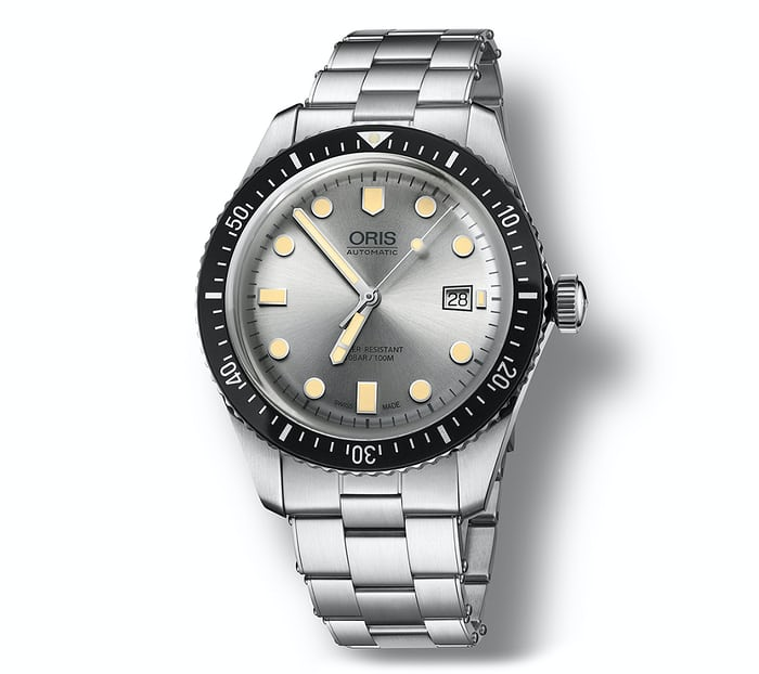 oris divers sixty-five silver dial steel bracelet