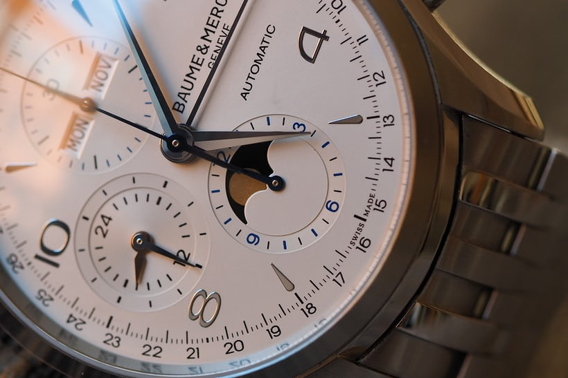 The Baume and Mercier Clifton Chronograph Calendar moonphase