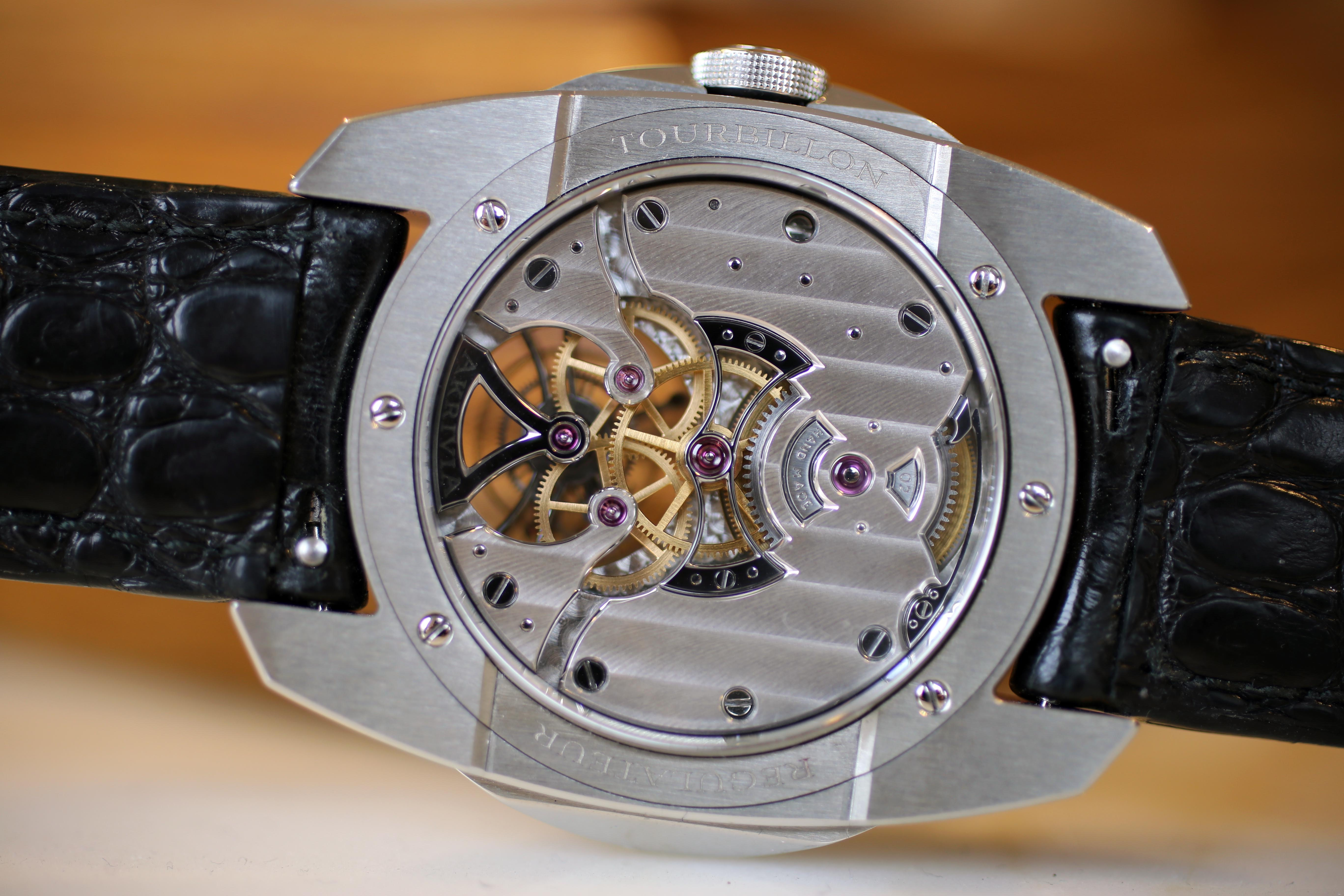 Hand-wound tourbillon movement with 100 hour power reserve. Remember Rexhep Rexhepi, Geneva's Next Big Thing? He's Still Busy Making Watches, And His Business Is Growing Remember Rexhep Rexhepi, Geneva's Next Big Thing? He's Still Busy Making Watches, And His Business Is Growing IMG 2525