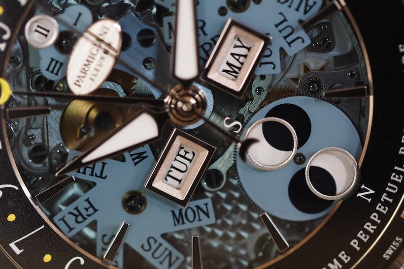 Parmigiani Fleurier Centum Perpetual Calendar Openworked Graphite perpetual calendar mechanism