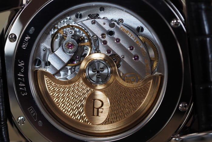 Parmigiani Fleurier Centum Perpetual Calendar Openworked Graphite caliber pf333 winding rotor