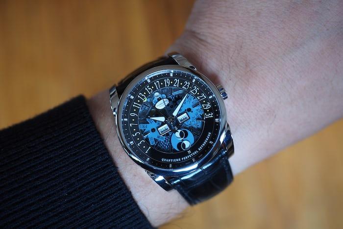 Parmigiani Fleurier Centum Perpetual Calendar Openworked Graphite wrist shot.