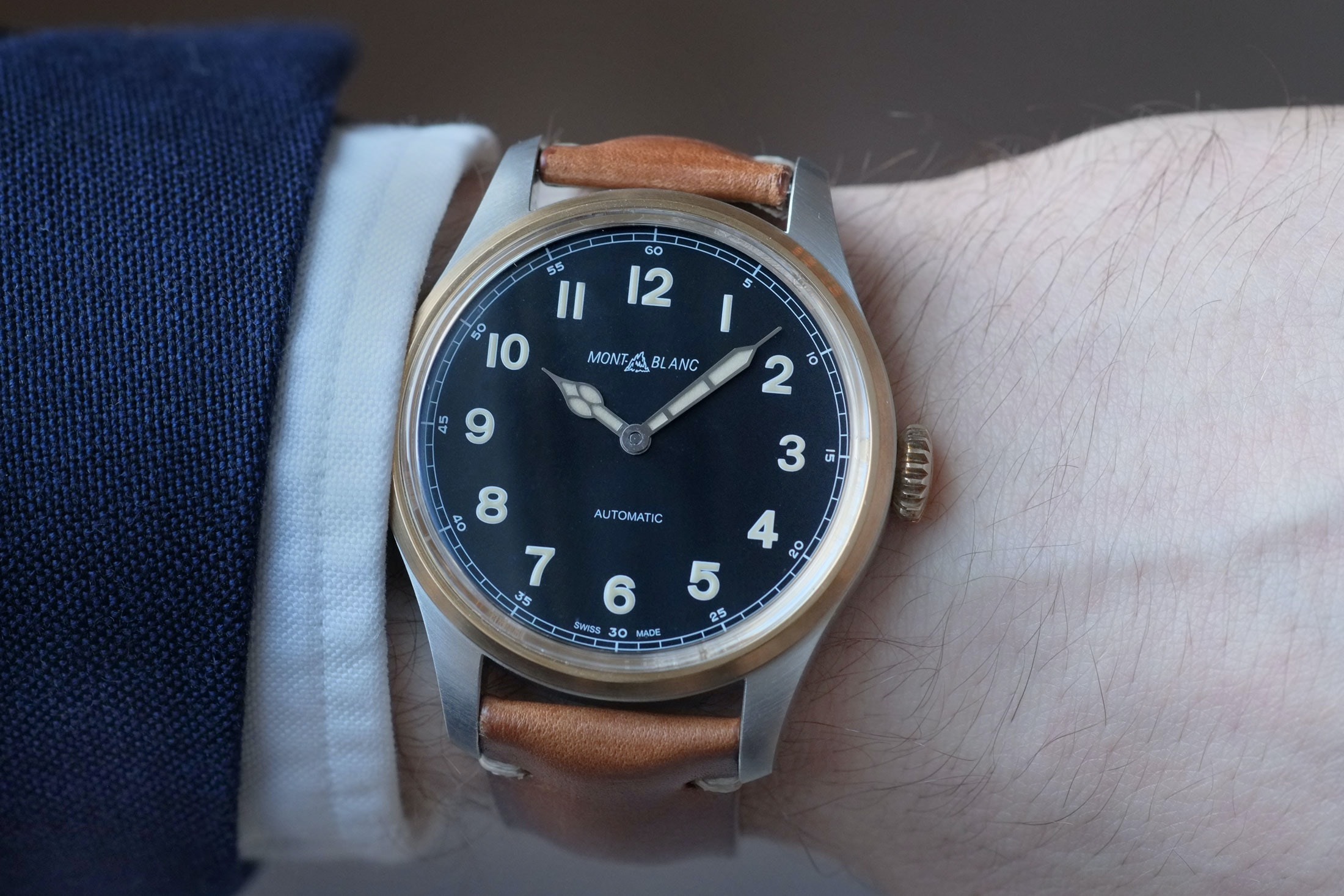 1858 automatic montblanc wristshot Introducing: The Montblanc 1858 Automatic And 1858 Automatic Dual Time, Two-Tone In Stainless Steel And Bronze (Live Pics & Pricing) Introducing: The Montblanc 1858 Automatic And 1858 Automatic Dual Time, Two-Tone In Stainless Steel And Bronze (Live Pics & Pricing) montblanc 02
