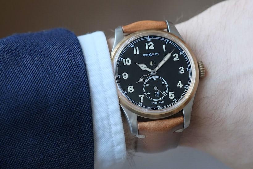 1858 automatic dual time montblanc wristshot