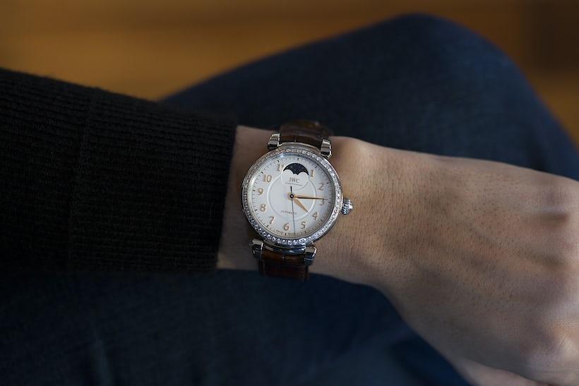 Da Vinci Automatic Moon Phase 36 diamond set wrist shot