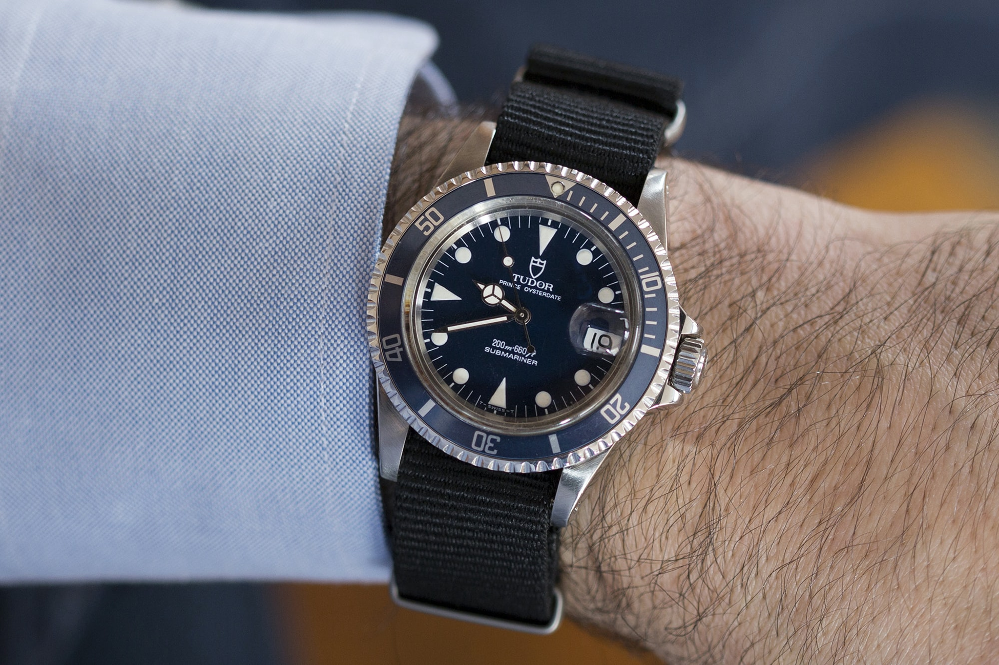 Tudor Submariner Reference 79090 Blue In The Shop: A 1990 Tudor Submariner Reference 79090 Blue, A 1979 Rolex GMT-Master Reference 1675, And A 1966 Breitling Navitimer In The Shop: A 1990 Tudor Submariner Reference 79090 Blue, A 1979 Rolex GMT-Master Reference 1675, And A 1966 Breitling Navitimer 20015386 copy