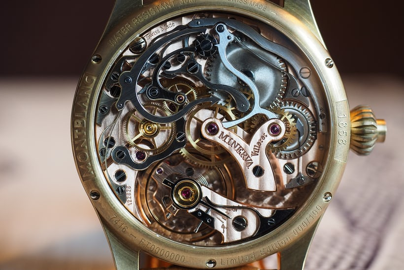 The 1858 Chronograph Tachymeter Limited Edition closeup caliber 16.29
