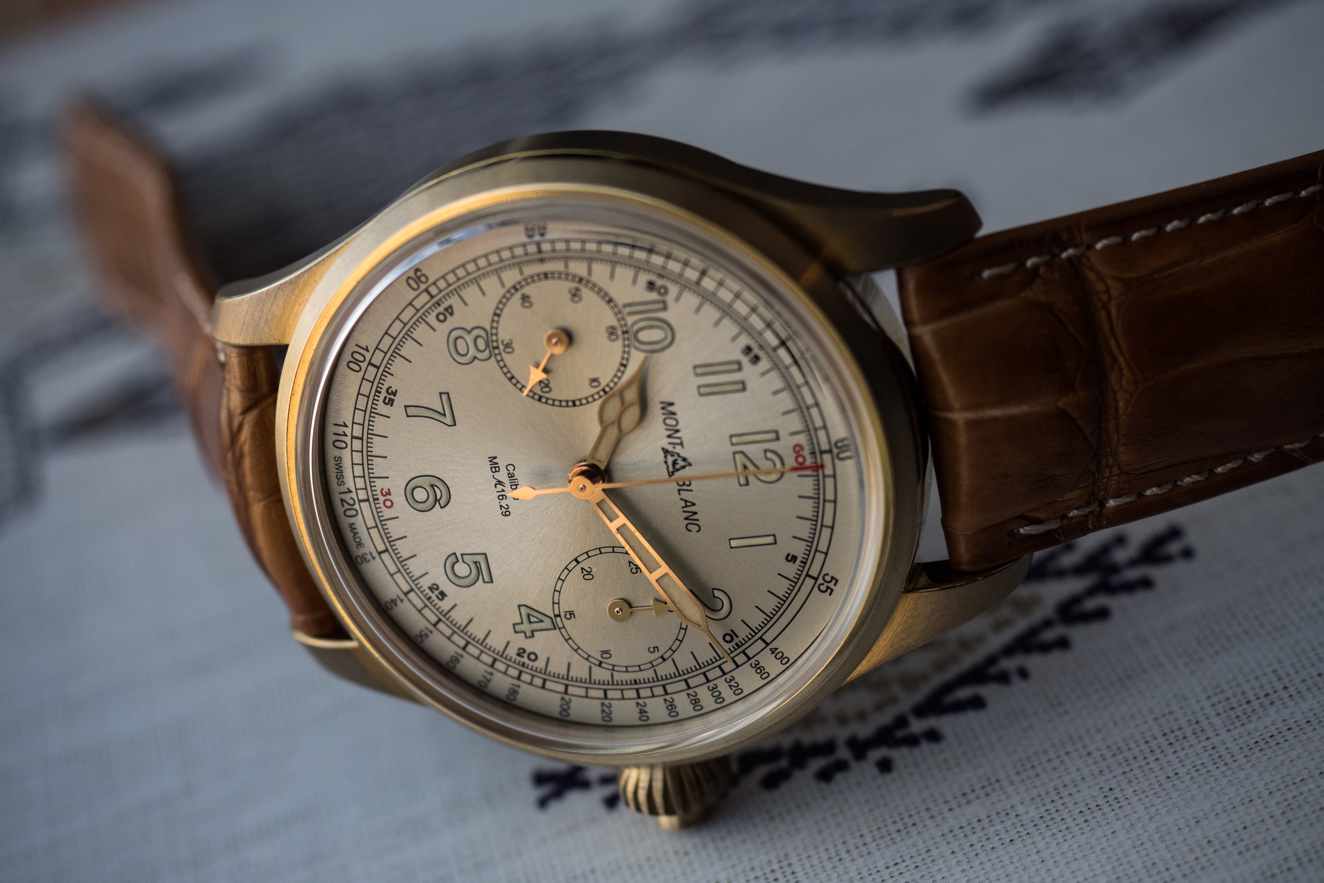 The 1858 Chronograph Tachymeter Limited Edition hands highlight Introducing: For SIHH 2017, Montblanc Announces The 1858 Chronograph Tachymeter Limited Edition In Bronze (Live Pics, Pricing) Introducing: For SIHH 2017, Montblanc Announces The 1858 Chronograph Tachymeter Limited Edition In Bronze (Live Pics, Pricing) PA250528