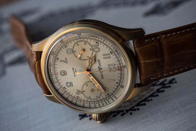The 1858 Chronograph Tachymeter Limited Edition hands highlight