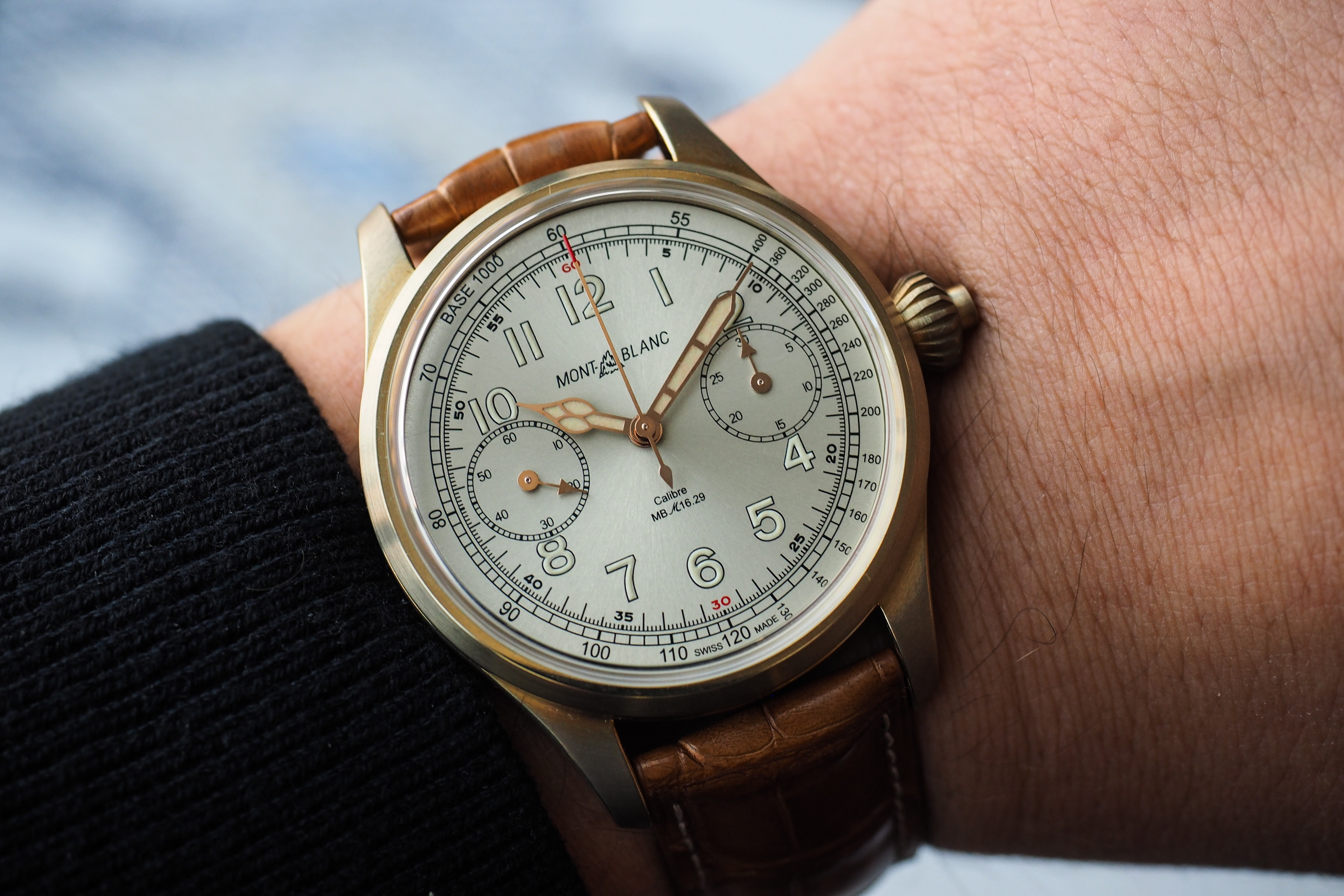 The 1858 Chronograph Tachymeter Limited Edition wrist shot Introducing: For SIHH 2017, Montblanc Announces The 1858 Chronograph Tachymeter Limited Edition In Bronze (Live Pics, Pricing) Introducing: For SIHH 2017, Montblanc Announces The 1858 Chronograph Tachymeter Limited Edition In Bronze (Live Pics, Pricing) PA250525