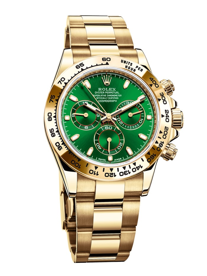 The Rolex Daytona Reference 116508 in yellow gold with green dial.