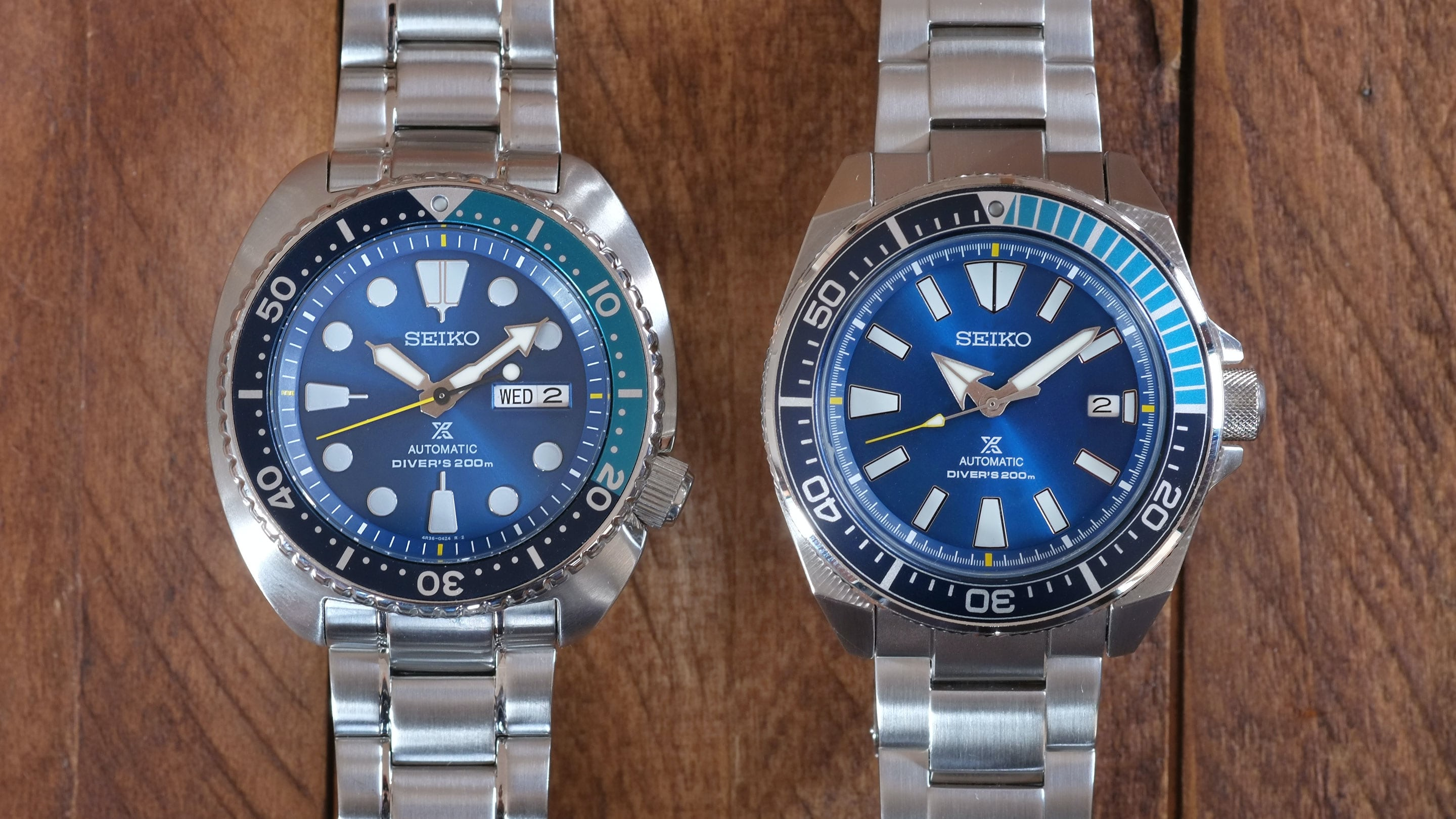 Hands On The Blue Lagoon Samurai And Turtle Two New Limited Seiko Skx007k2 Automatic Divers 200m Black Dial Edition Prospex References Srpb09 Srpb11 Hodinkee