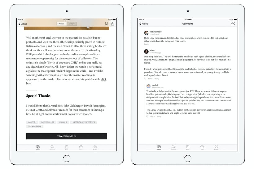 hodinkee comments ipad