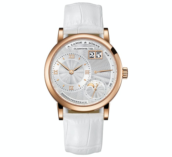little lange 1 pink gold guilloche dial