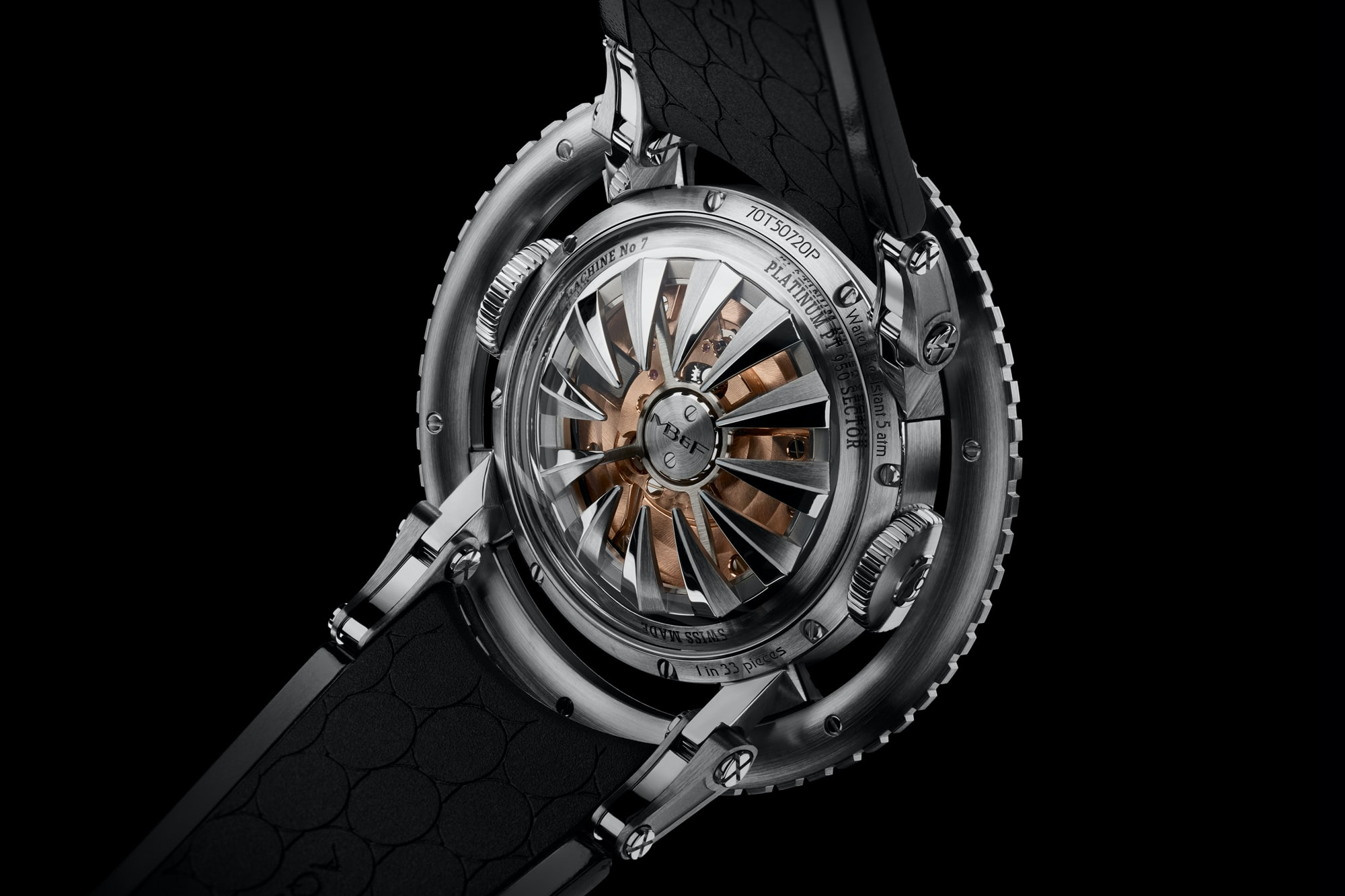A glimpse of the movement through the sapphire caseback.