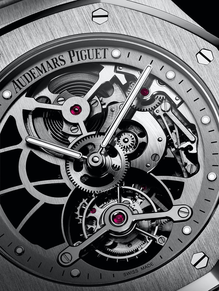 Audemars Piguet Royal Oak Tourbillon Extra-Thin Openworked steel movement closeup