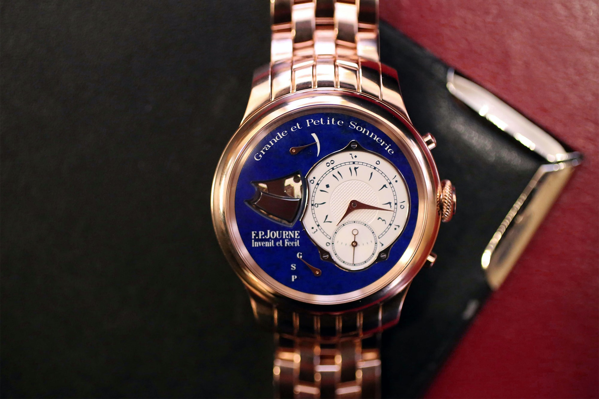 A Unique Pink Gold F.P. Journe Sonnerie Souveraine lapis dial Just Because: A Unique Pink Gold F.P. Journe Sonnerie Souveraine, With Lapis Lazuli Dial And Eastern Arabic Numerals Just Because: A Unique Pink Gold F.P. Journe Sonnerie Souveraine, With Lapis Lazuli Dial And Eastern Arabic Numerals IMG 4277
