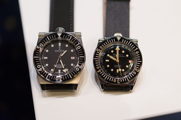 old and new versions of the triton dive watch