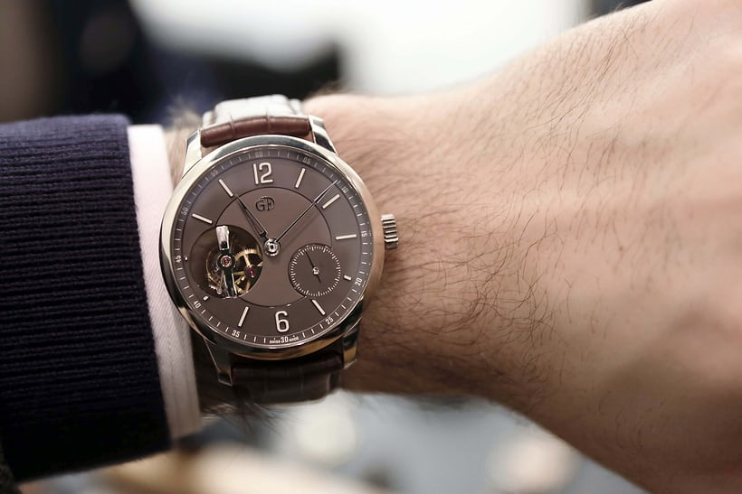 Wrist shot of the Greubel Forsey Tourbillon 24 Secondes Vision with a chocolate dial.