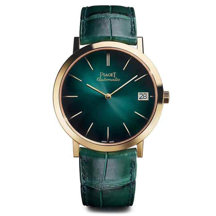 Yellow gold with green dial Altiplano with date 40mm.
