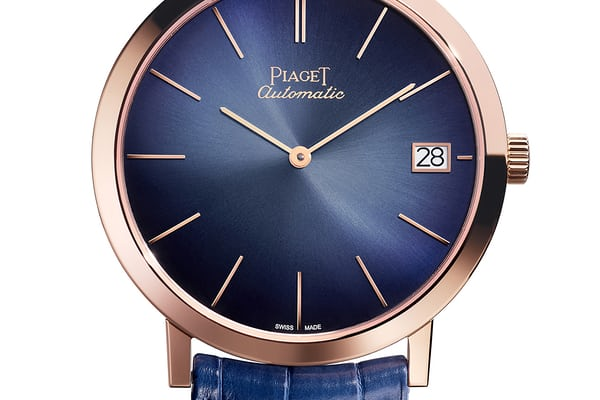 Rose gold with blue dial Altiplano with date 40mm.