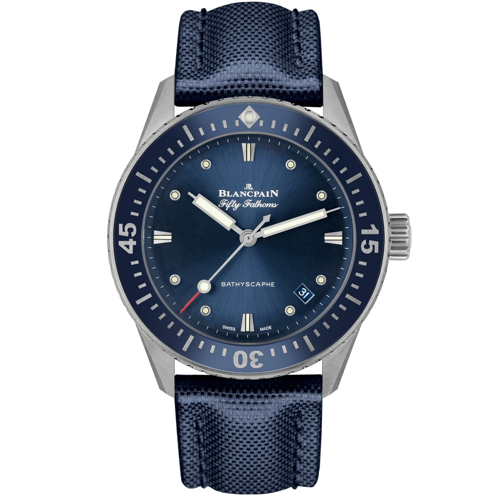 blue bathyscaphe 38mm blancpain Introducing: The Blancpain Fifty Fathoms Bathyscaphe In 38mm Introducing: The Blancpain Fifty Fathoms Bathyscaphe In 38mm blancpain 01