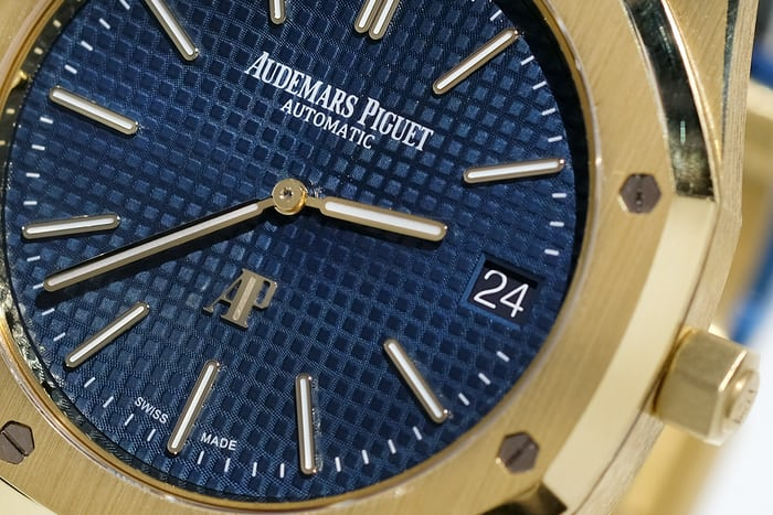 royal oak jumbo yellow gold blue dial