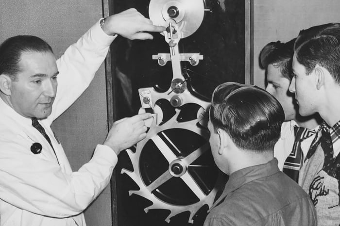 Henry Fried instructing students on escapement mechanics. Photo courtesy of the Brooklyn Public Library—Brooklyn Collection.