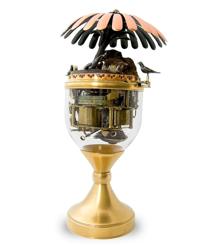 Singing Bird Urn with visible mechanism, 1780.