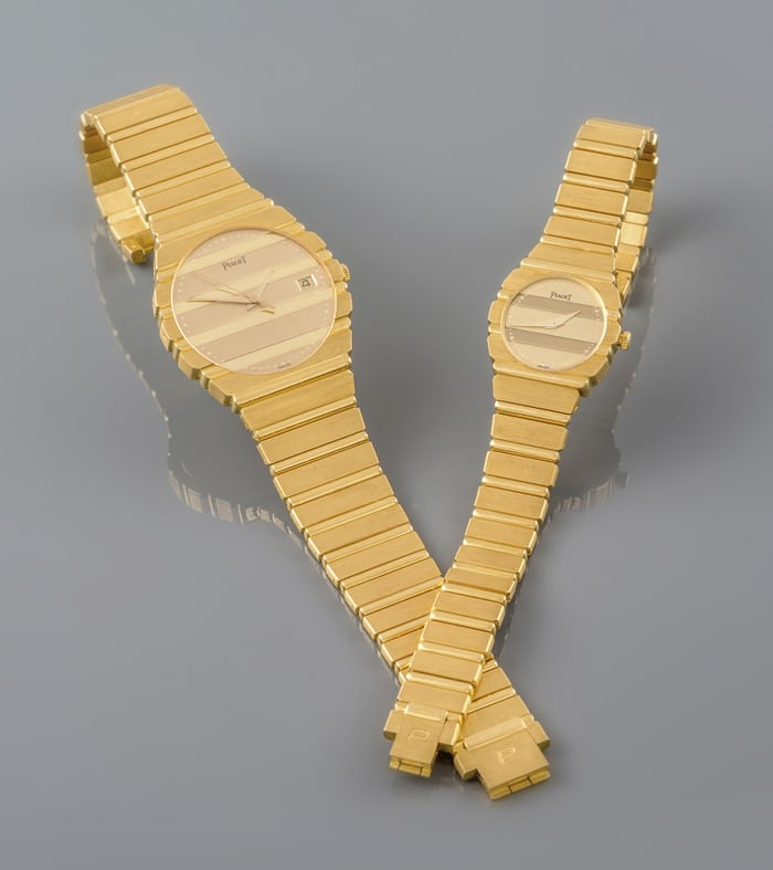 solid gold piaget polo watch