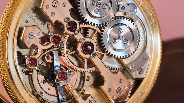Girard Perregaux pocket chronometer, movement image, 3/4 view